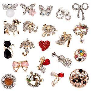Women-Crystal-Sunflower-Aniaml-Brooch-Pin-Lapel-Boutonniere-Wedding-Jewellery