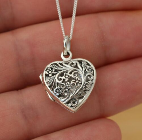 Sterling Silver Red Filigree Heart Locket Pendant and Chain Gift Boxed Necklace