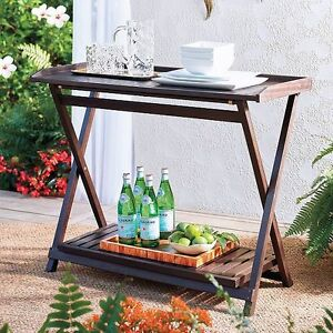 Image Is Loading Outdoor Eucalyptus Wood Folding Console Table Serving