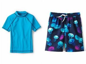 e534ed68d919 LANDS  END Boys 2T Rashguard Shirt   Jellyfish Print Shorts Swim Set ...