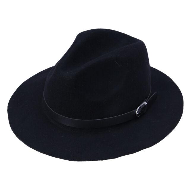 Hippie Unisex Black Jazz Wool /  Felt Cowboy Bowler Fedora Panama Hat Gang Cap