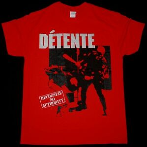 DETENTE-RECOGNIZE-NO-AUTHORITY-1986-THRASH-METAL-LIVING-DEATH-NEW-RED-T-SHIRT