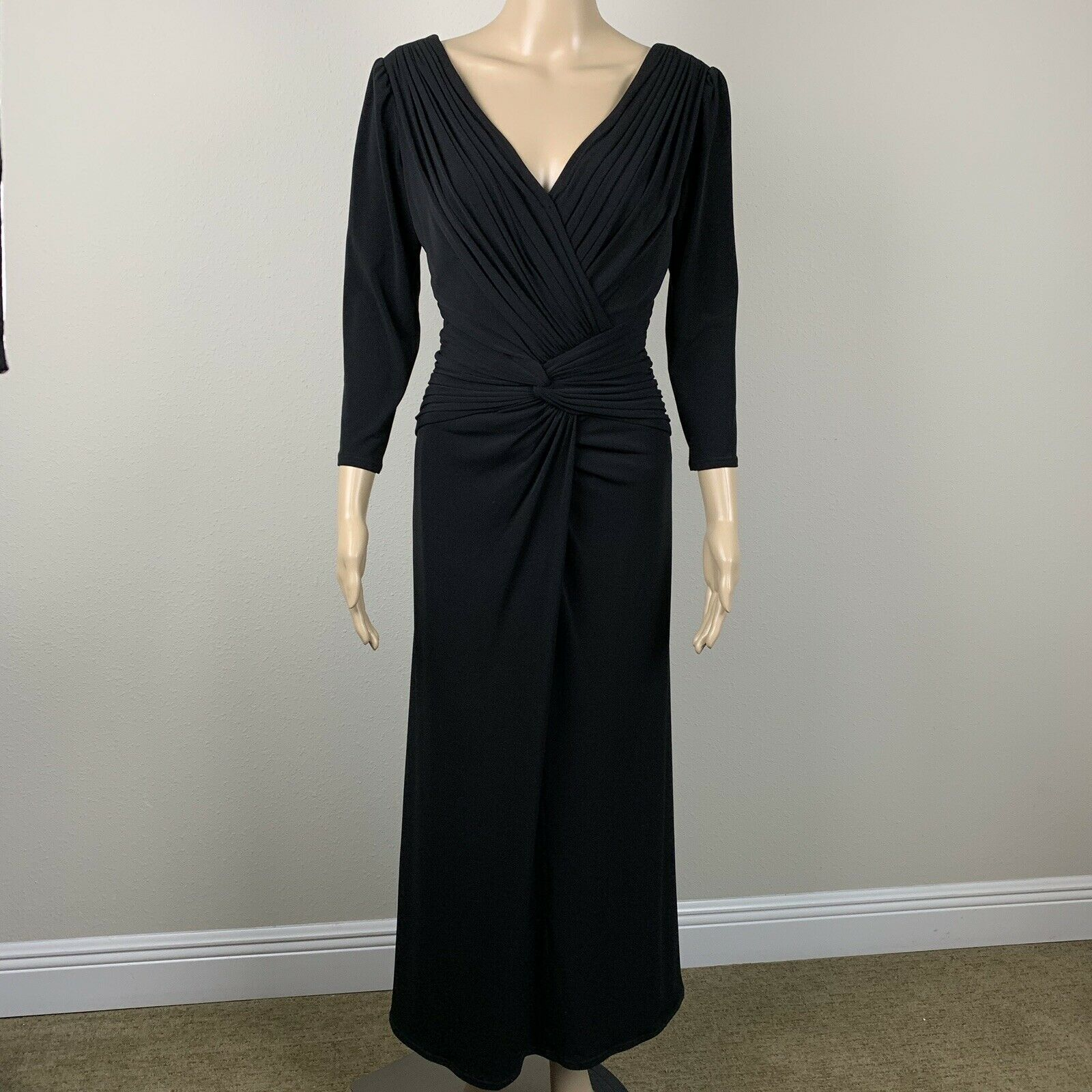 Tadashi Collection Draped Knot Formal Gown Dress Black Women's size XL Formal