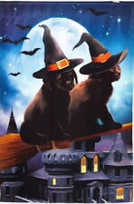 NEW EVERGREEN 29 x 43 HAVE BROOM WILL TRAVEL BLACK CAT & LAB DOG HALLOWEEN FLAG