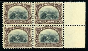 USAstamps-Unused-VF-US-1901-Pan-American-Fresh-Block-Scott-298-OG-2-MNH-2-MVLH