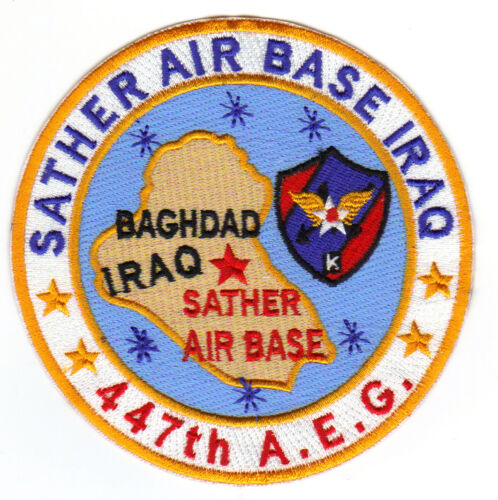Y SATHER AIR BASE IRAQ USAF BASE PATCH 447 A.E.G