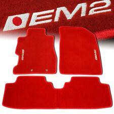 01-05 HONDA CIVIC EM2 CUSTOM FIT FLOOR MATS NON SKID CARPET SET KIT 4 PC RED