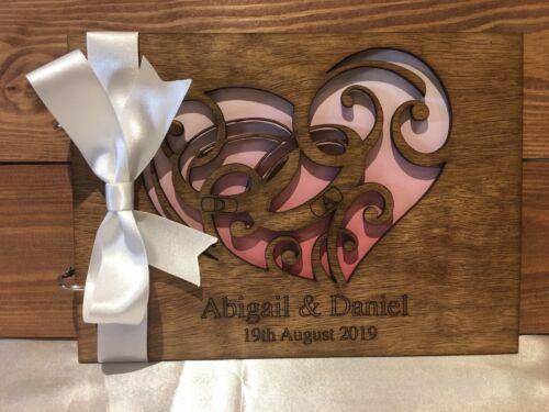 Personalised Wedding Engagement Anniversary Guest Book Scrapbook Album Wooden