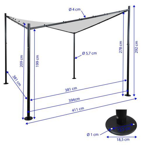 Garten Pavillon Sonnensegel Stahl-Gestell Pergola HWC-A41 4x4m anthrazit