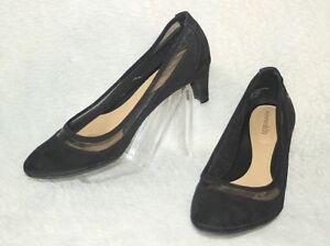 SOLESENSEABILITY-Low-Heels-Shoes-Black-Suede-Look-amp-Mesh-034-Delia-034-Sz-7-5-M-VG