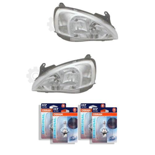 Auto & Motorrad: Teile Frontscheinwerfer Halogène Phares Set Opel Corsa C 08.00-10.03 h7/h7 avec moteur 1361231
