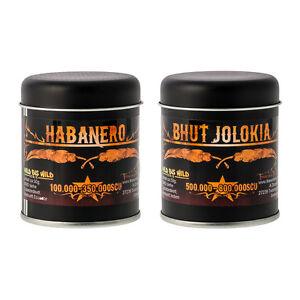 Bih-Jolokia-amp-Habanero-je-50g-die-schaerfsten-Chili-Pulver-Dosenstreuer