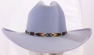 Rand s Custom Hats Cattleman 10x - Chambray Blue w  beaded hat band ... a1e67e5c2d3