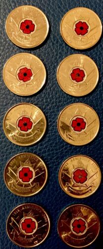 Amazing Set//Lot of 20 2008//2010 Canada RED POPPY Quarter 25 c Coins