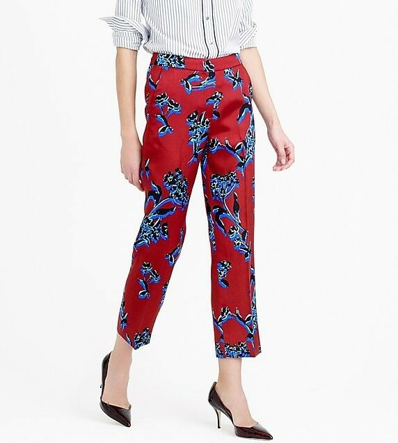 J Crew Collection Patio Pant in Vibrant Wildflower Silk Wool Cropped size 8  325