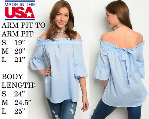 146b8597e92 Details about NEW WOMENS OFF SHOULDER COTTON POPLIN STRETCHY BLUE WHITE TOP  BLOUSE SHIRT TUNIC