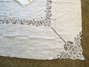 Vintage-Tablecloth-and-6-Napkin-Set-White-Lace-Cutwork-Floral-Lacy-68-x-86