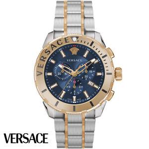 Versace-VERG00618-Casual-Chrono-blau-rosegold-Edelstahl-Armband-Uhr-Herren-NEU