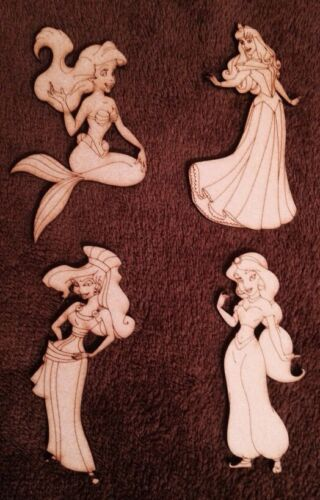 Four Wooden Princess Characters  3 Mm Thick Craft Shape Blanks