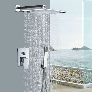 Details About Chrome Shower Faucet Set 16 Wall Mount Rainfall Shower Head With Hand Sprayer