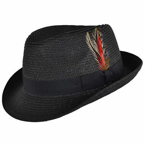 aa67d155 Image is loading Mens-Ladies-Black-Packable-Straw-Summer-Trilby-Hat-