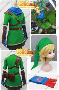 Details About Legend Of Zelda Hyrule Warriors Link Cosplay Costume With Blue Scarf