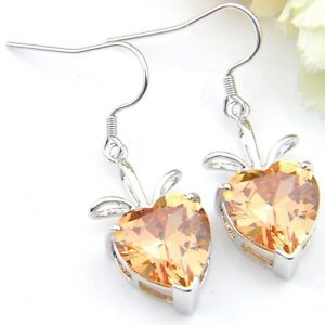 Dazzling-Heart-Shape-Fire-Morganite-Zirconia-Gems-Silver-Drop-Earrings