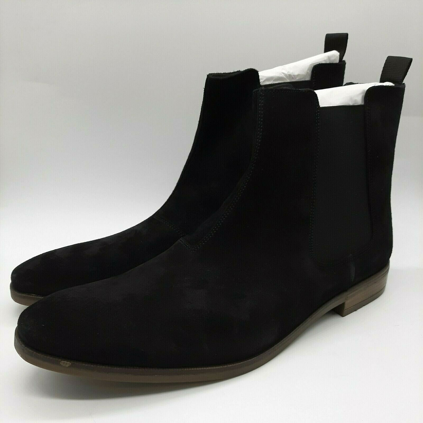 Clarks Men Black Suede Stanford Top Boots Size UK 10 Smart Office Casual RRP