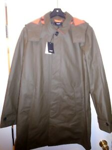 Jack-Spade-Rubberized-Hooded-Trench-Coat-Rain-Coat-NWT-Large-448-Olive-Green