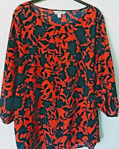 Croft-amp-Barrow-Silky-Red-Navy-Abstract-Floral-Blouse-Shirt-Top-3-4-Tab-Slv-XXL