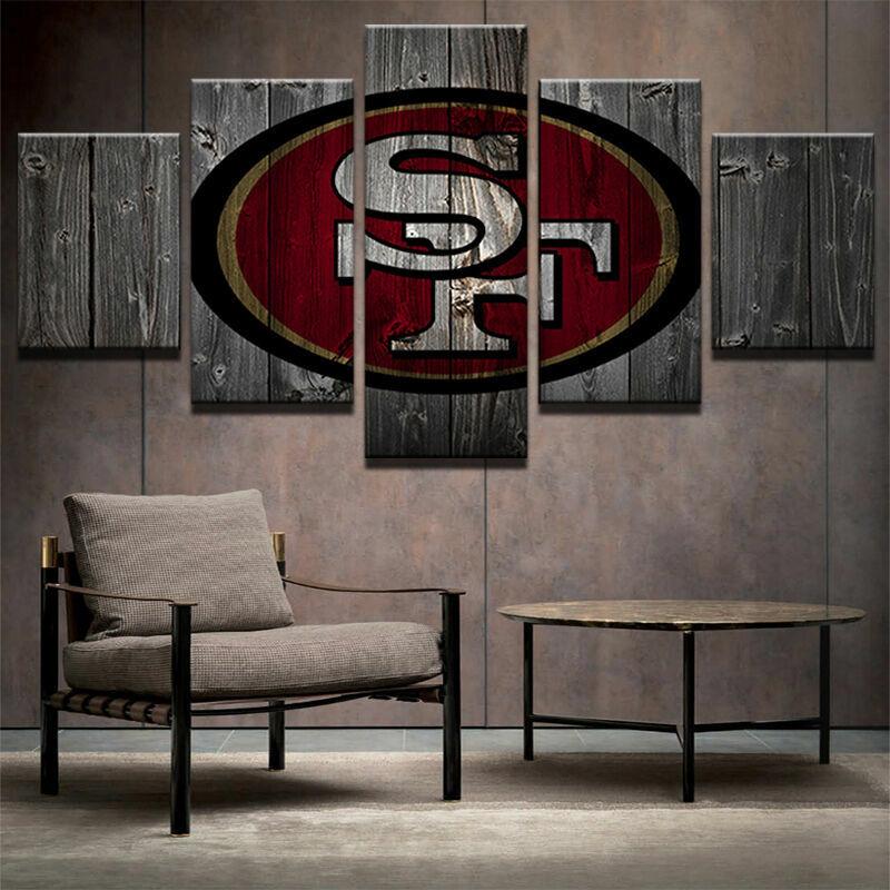 San Francisco 49'ers Barnwood Sty Five Piece Framed Canvas Home Decor Wall Art 5