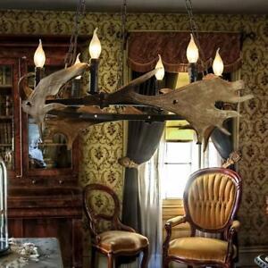 Antler Chandelier Horn Lamp Decor Farmhouse Vintage Resin 6 Lights Lodge Bar