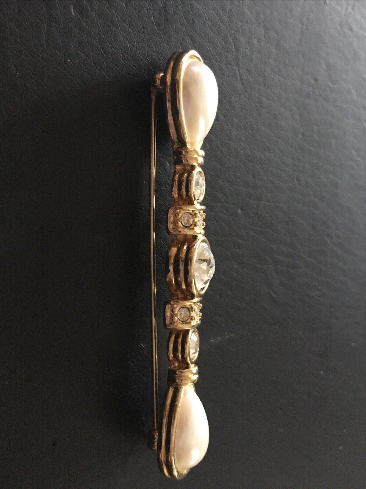 Monet Long Crystal Rhinestone, Pear Pearl & Gold … - image 7