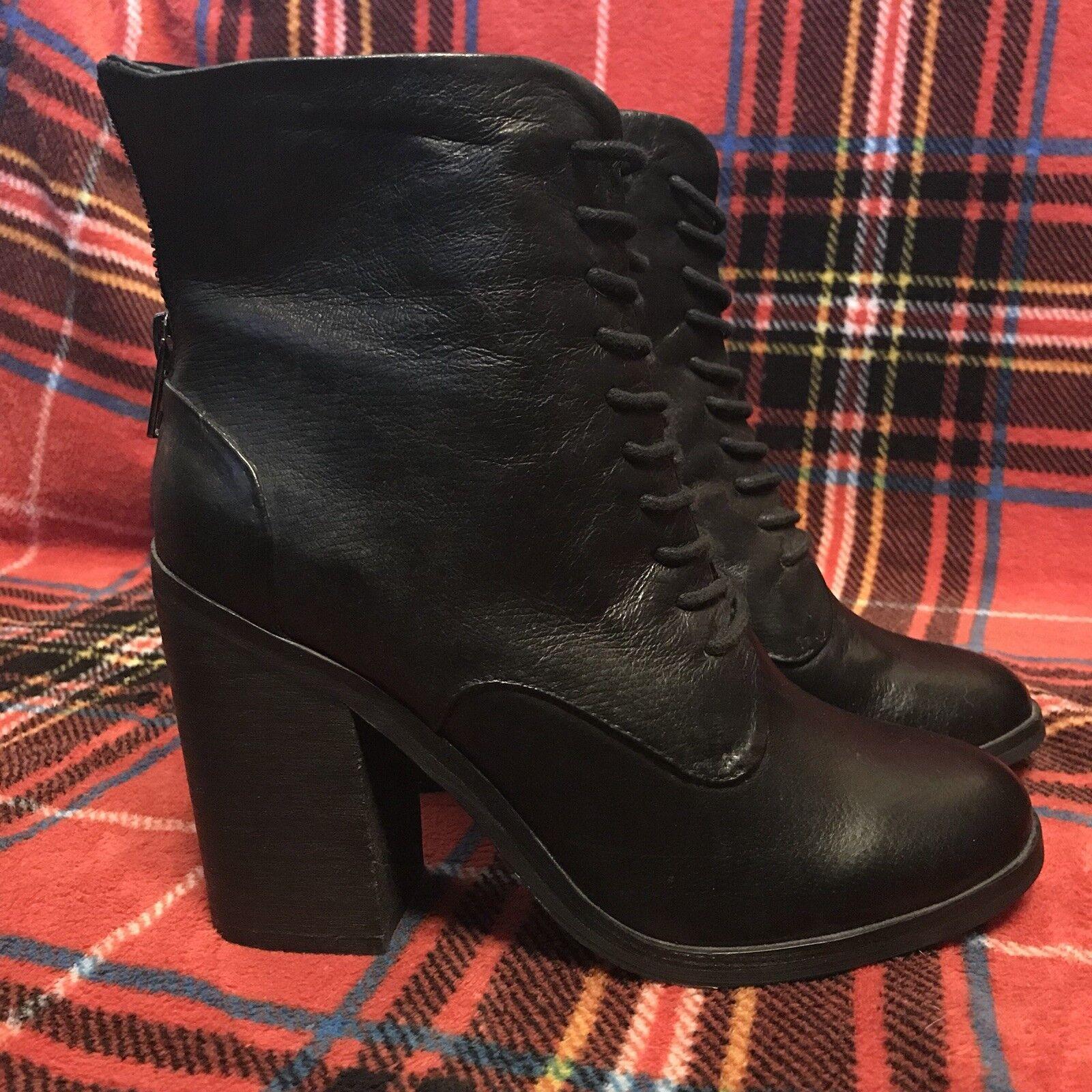 zapatosmint Erin con cordones al tobillo Botines De De De Cuero Negro Talla 7.5  Hay más marcas de productos de alta calidad.