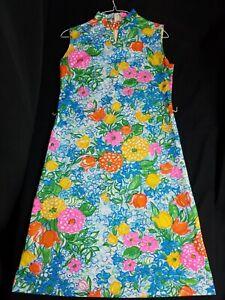 Vintage-Arlene-Andrews-Colorful-Floral-1960s-Dress-Womens-Retro-Hippy-Disco