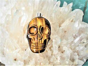 Skull-inTiger-039-s-Eye-Quartz-Silver-Pendant-Gem-Quality-GOLDEN-SUN-EARTH-ENERGY