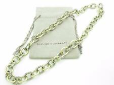 David Yurman Cable Sterling Silver 18k Yellow Gold Oval Chain Link Necklace 16""