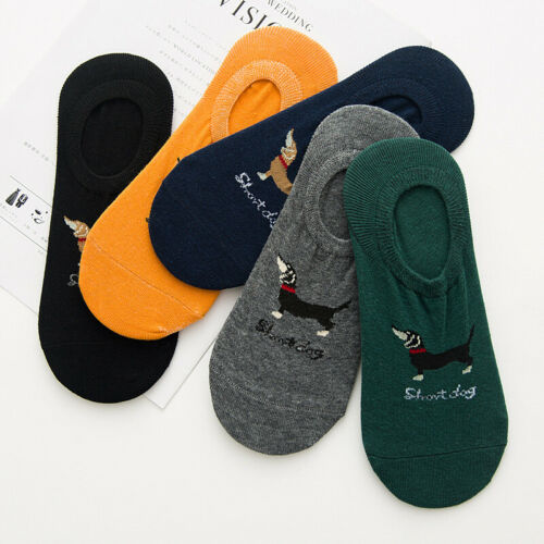 5//10 Pairs Mens Dachshund Dog Cotton Loafer Invisible Low Cut Crew Boat Socks