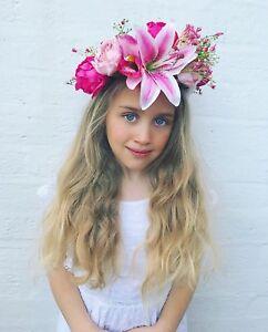 Image is loading Pink-Lily-Gypsophila-Peony-Flower-Crown-Hair-Head- aaa07565cae
