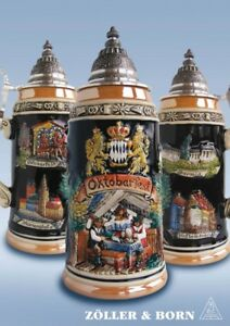 GERMAN-BEER-STEIN-1-l-pewter-Panorama-OKTOBERFEST-multicoloured-with-lid-NEW