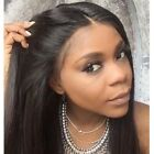 100%Indian Remy Human Hair Front Lace Wig Silky Straight Glueless Full Wig 8-24'