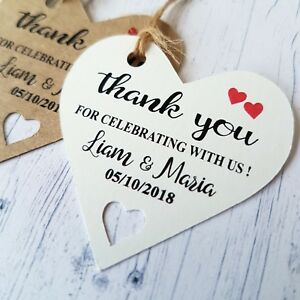 25 Heart Personalised Wedding Favour Tags Thank You Special Day HEART LABELS