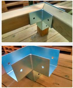 Pfostenecke Holzverbinder  3-Wege aus Stahl verzinkt Pfostenverbinder