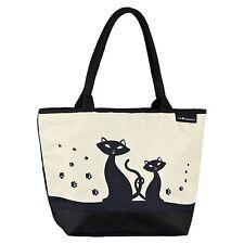 Tasche Bag Shopper Umhängen creme Kätzchen Tier Damen schwarze Katzen 4165