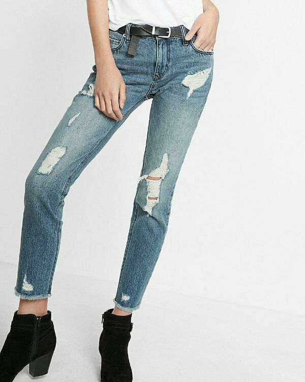 NEW EXPRESS MID RISE DISTRESSED ORIGINAL GIRLFRIEND JEANS SIZE 10