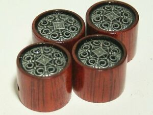 Set of 4 Bloodwood Guitar Knobs with Pewter Inlay (7/8 dia x 11/16h)