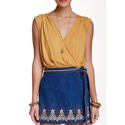 NWT We The Free People Dream Surplice Crop Top Yellow Casual Boho L M