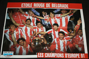 Détails Sur Football Poster Etoile Rouge Belgrade Crvena Zvezda Champions Cup Winner 1991
