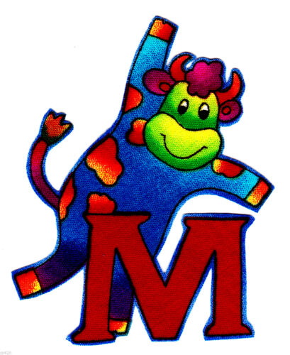 "3/"" Silly animal letter m moose alphabet monogram fabric applique iron on"