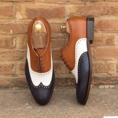 Homme Nouveau Handmade Formelle Chaussures Cuir Homme marron Captoe Richelieu à chaussures marron